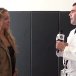 VIDEO: Ronda Rousey breaks male interviewers ribs with a vicious judo throw. http://t.co/yJAKb4NGOZ http://t.co/4WQQOlaZ0g