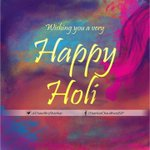 Greetings on #Holi. Have al colours & fragrance of divinity..affinity & spirituality..with eternal celebration of joy http://t.co/KlUd3JWJdm