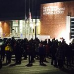 23 degrees and protesters gathering at Ferguson PD hours after DOJ reports. http://t.co/9qxcd99Alj