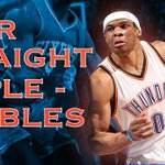 Russell Westbrook is UNREAL. Westbrook records a triple-double for the 4th game in a row, his 6th of season. http://t.co/m0SOf4vHRr