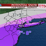 """ALERT! WINTER STORM WARNING #NYC, Long Island, coastal NJ, 6""""-8"""" of #snow by Thursday afternoon. @StormTeam4NY http://t.co/UOIZzg1W0T"""