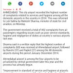 Ahmedabad & Rajkot AirPort r Topsin fliers' complaints among d airports.Highest complaints was received at Ahmedabad http://t.co/yNBH669Aiu
