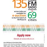 e-auction of 135 Private FM Radio Channels in 69 Cities in 1st Batch of FM Phase III http://t.co/9aJHHRHfdv