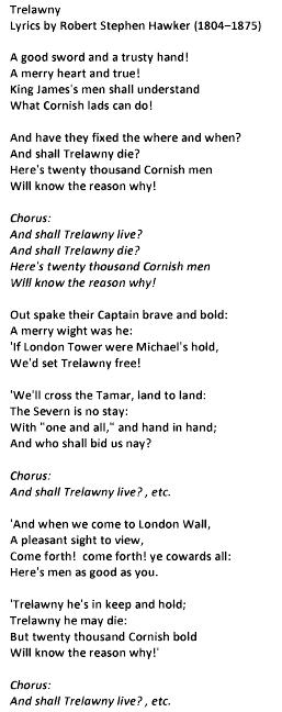 Lyrics to the Cornish National Anthem #trelawnyshout Gool Peran Lowen #StPiran #Cornwall http://t.co/pVyG9QU5TW
