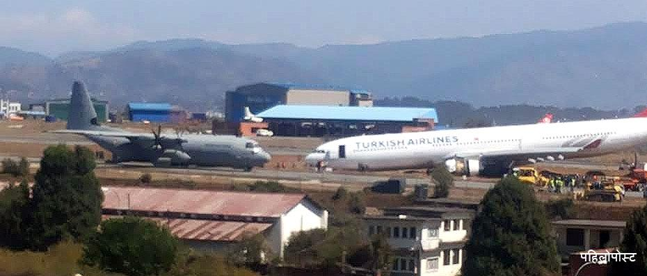 Indian Airforce aircraft c130 with aircraft removal kit just arrived at TIA to remove Turkish Airlines on runway http://t.co/8vcfJsaq5q