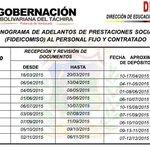 RT Cronograma de adelantos de prestaciones sociales (FIDEICOMISO) al personal fijo y contratado  http://t.co/E7nlDrg6Qv