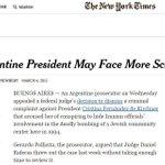 Para el @NYTimes, el caso Nisman podría afectar las chances electorales del kirchnerismo http://t.co/fNvuUch2So http://t.co/yIYtIkzan0