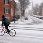 A bicyclist rides on N. Bentz Street Thursday as snow falls in Frederick. @frednewspost http://t.co/1ez3wK2hyo