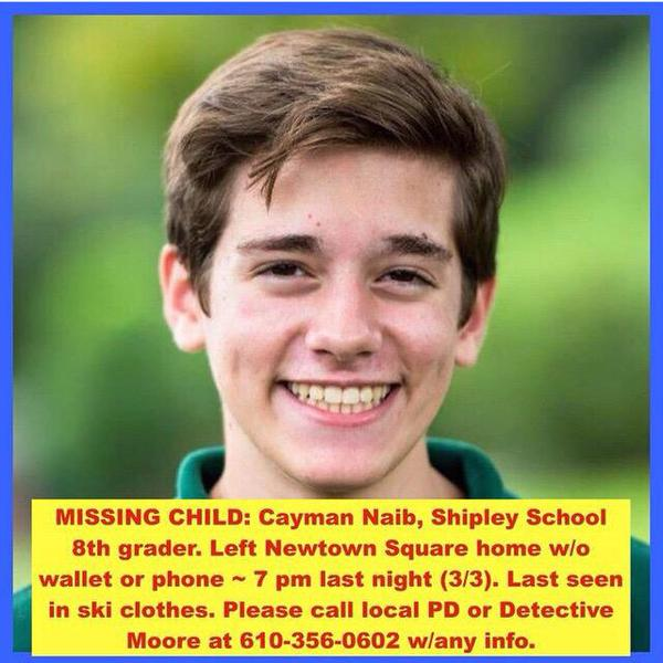 This 8th grader from the Shipley School is missing. #findcayman http://t.co/3aEFGRNkjz