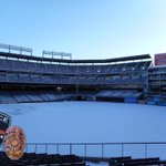Winter Storm Photos. The @Rangers field is again covered in snow with the sun rising in background @CityOfArlington http://t.co/P9CrSg1k6E