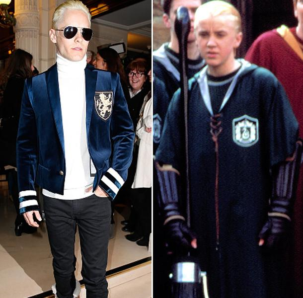 Jared Leto looks JUST LIKE Draco Malfoy at #PFW, right down to the insignia on his blazer! #Syltherin http://t.co/yyvuEVaJlM
