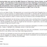 RT @BBCIndia: Letter from Director of BBC Television to Indian broadcast ministry on #IndiasDaughter http://t.co/Hb2ddx0e5i