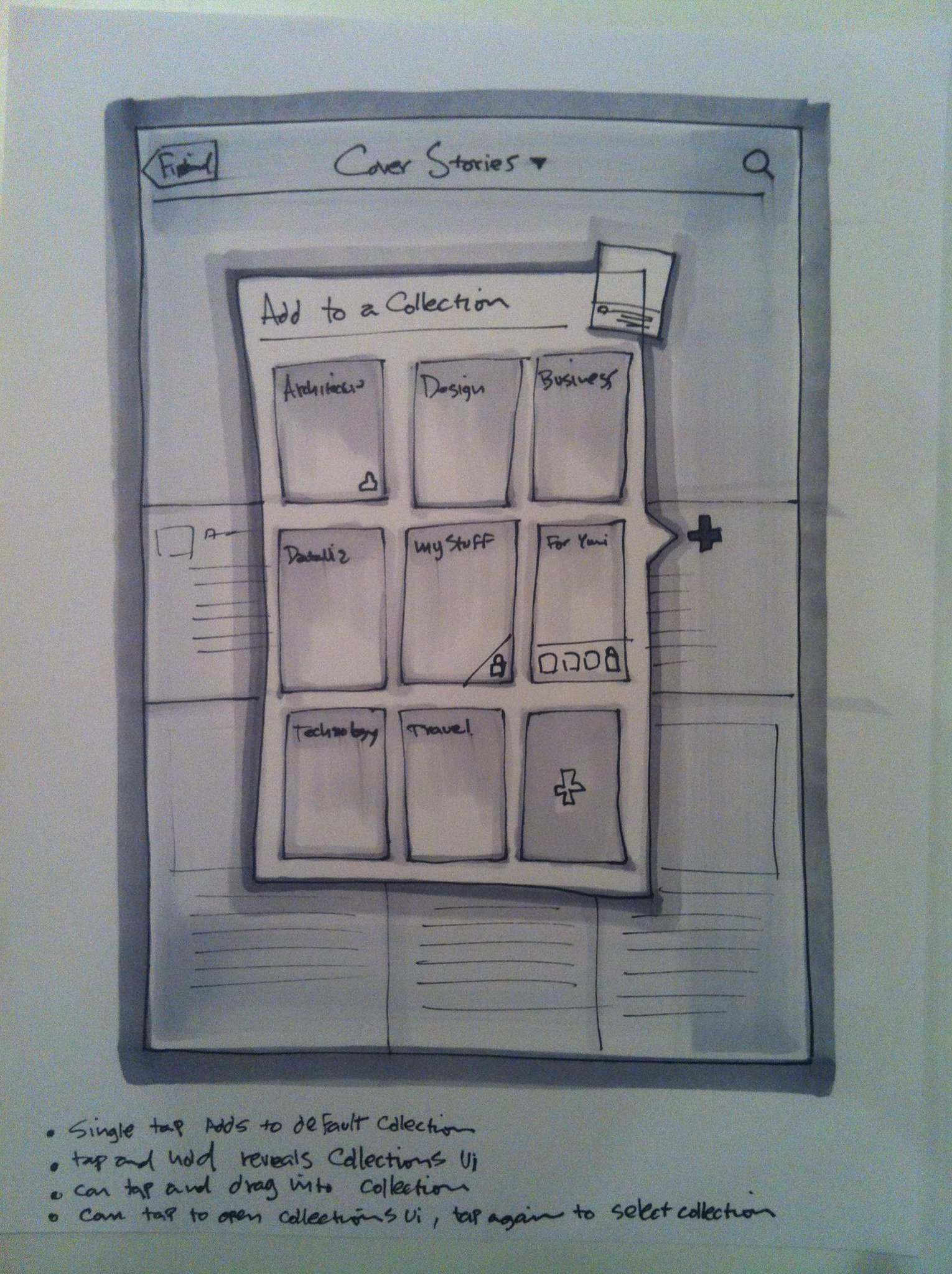 """Early design sketch of what would become the """"+""""/add to a magazine menu #TBT http://t.co/LboZc9DYGc"""