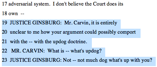 This crucial exchange between Justice Ginsburg and Carvin at the Obamacare arguments hasn't gotten enough attention.