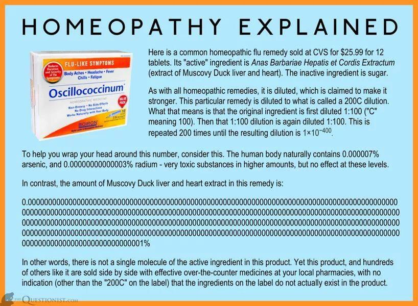 Every time I post this the #homeopathy fanatics get upset. The truth hurts. https://t.co/S55ghJIbba