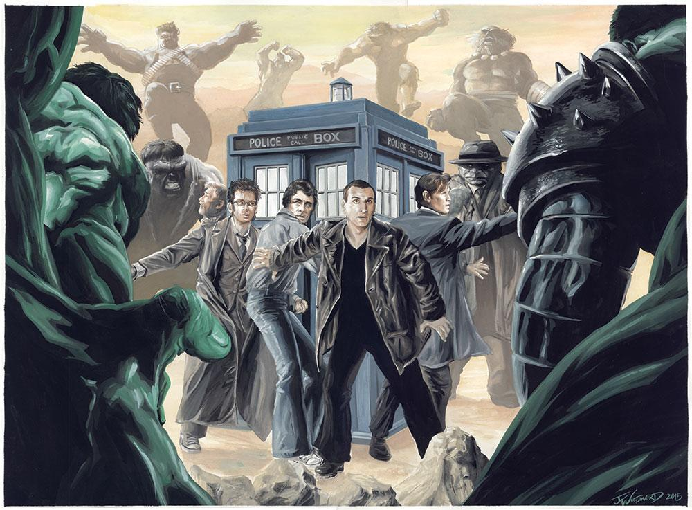 "gouache on 18"" x 24"" hot pressed cotton.  The Doctors take on the Hulks of all times. #DoctorWho #Hulk http://t.co/1jN2qmaYwM"