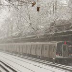 #Q train in service along the #Brighton Line in #Brooklyn earlier today. #SubwaySnow http://t.co/lsDYN8ipMW