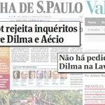 """""""Lava Jato""""...A golpista @folha tentou colocar Dilma no mesmo balaio de Aécio, isto é crime! http://t.co/sn4PppmtmP http://t.co/5eZeXrwyHC"""