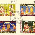 Guyana Post issued a set of 4 stamps in 1969 on Lord Krishna playing Holi - Phagwa Festival #HappyHoli #शुभवैदिकहोली http://t.co/6asM4y0R5E