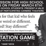 High School Students: See The #ImitationGame FREE at @AMCTheatres on March 6th http://t.co/T0aEkU2qrY http://t.co/AVldvOAes4