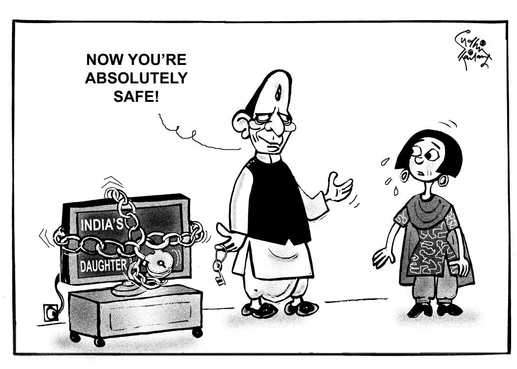 #IndiasDaughter is safe now.says homeminister. My cartoon. @TheAsianAgeNews @DeccanChronicle http://t.co/hDutmqofTd