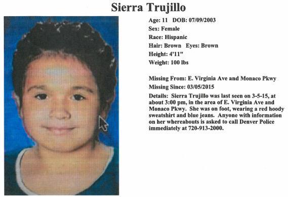 MISSING CHILD: #Denver, please share & help us find 11YO Sierra Trujillo. http://t.co/BFbfEmnvII