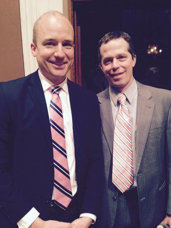 """""""@bgolnik: Kind bi-partisan regards to @John_Rouleau from pink tied fans of yours #mnleg #rolo http://t.co/TGM1siQpsv"""" Rock those pink ties!"""