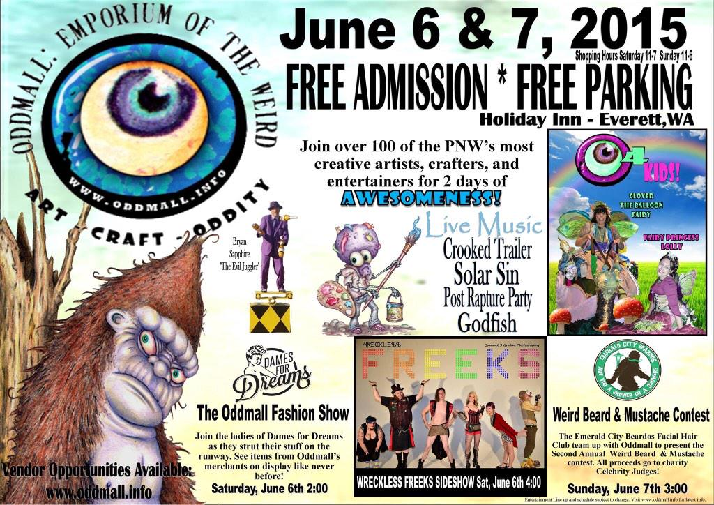 Help #oddmallseattle get more followers! Spread the word of the Weird to everyone you know in PNW. #free #everettwa http://t.co/ad3yiOhptf