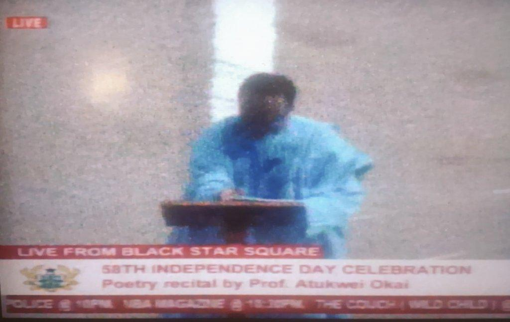 Professor Atukwei Okai just delivered  a wonderful poetry piece at the independence square ... Great day for #Poetry http://t.co/I0NrsyTBaL