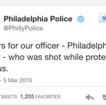 This is the tweet sent out by Philadelphia Police Department, about an hour before Officer Robert Wilson III died. http://t.co/Qg917079Co