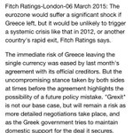 Fitch: Grexit Remains Possible, But Systemic Crisis Unlikely #Greece http://t.co/R4TzBRMNsq