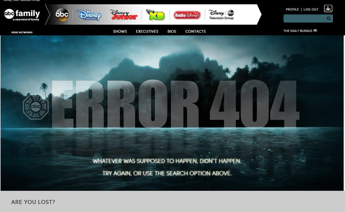 Kudos to @ABCNetwork with the 404 Error Page on their Press Site #wehavetogoback http://t.co/SYBDmme6gn