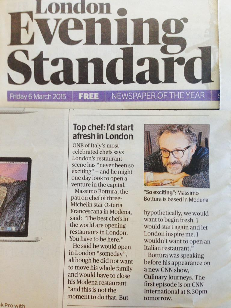 London's @standardnews reveals @massimobottura's thoughts on opening in the capital.......one day http://t.co/h88s9Jh5Fq