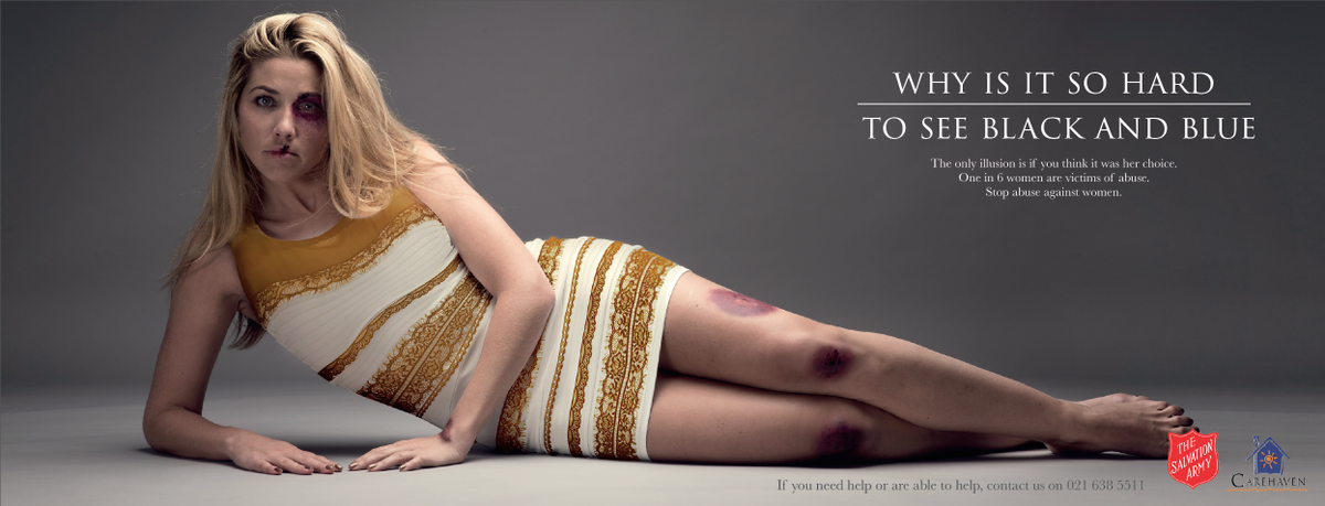 Best use of #thedress RT @SalvationArmySA Why is it so hard to see black & blue? One in 6 women are victims of abuse. http://t.co/MtR7Dpm12A