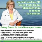 Meet @ElizabethMay in #HamOnt Mar 13 for @TheJUNOAwards #ArtCrawl @raisethehammer @CBCNews @350 @CdnPress @WWF @cpaws http://t.co/LbgIwHUFH2