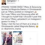 [TRANS] 150306 SNSD Tiffany & Sooyoung spotted at Magnolia Bakery in Omotesando just as Tiffany posted on Instagram 🍰 http://t.co/4PMSWUWqCi
