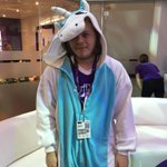 """Pinny Arcade Twitch Pin Giveaway #1: Say """"Hi"""" to this unicorn at the @ESL booth. First 30 get a pin! #PAXEast2015 http://t.co/sl07425nsa"""