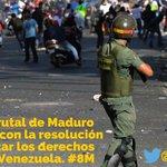 El régimen brutal de #Maduro debe acabar con la resolución #8610 y respetar los #DDHH de #Venezuela. #8M http://t.co/2poW37rkpP