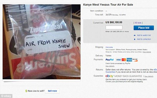 eBay users have been bidding upwards of $65,000 for a bag of air from a Kanye West concert http://t.co/11aajLFAvY http://t.co/nDbJVFRDGp