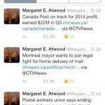 Great to see the support from amazing author @MargaretAtwood for saving #CanadaPost! #cdnpoli #canlab #SaveCanadaPost http://t.co/Io1Qgnt8bW