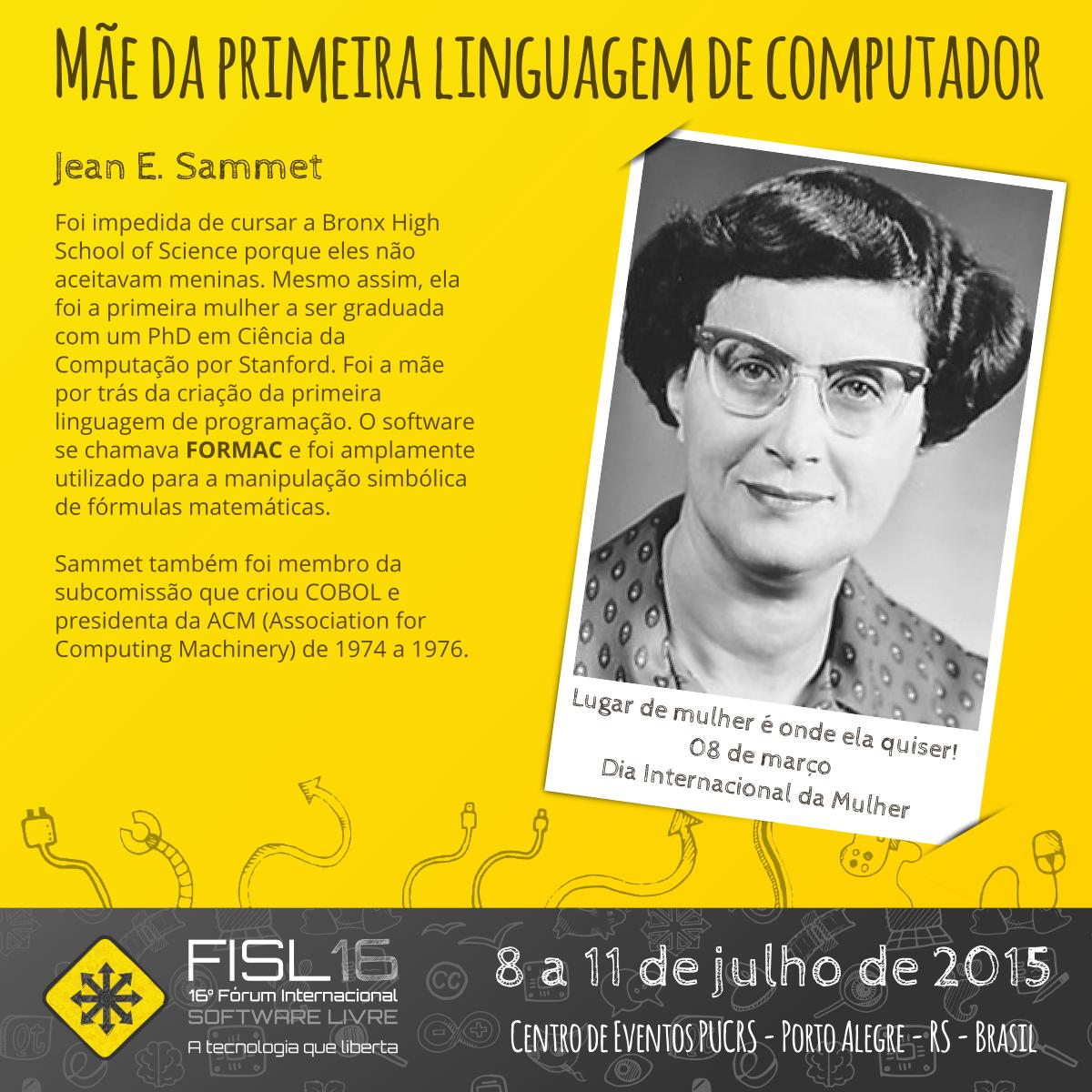 """Conheçam """"A Mãe da Primeira Linguagem de Computador"""", Jean E. Sammet. >> http://t.co/j12h6gEDwW http://t.co/dQzzlTO1PA"""
