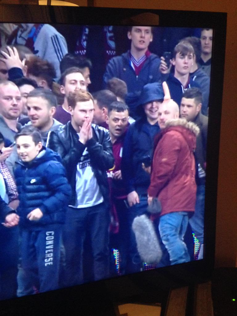That's a man, with a penis on his head. In the crowd at villa. My mate just made me rewind the telly 4x to see it. http://t.co/saKlbgY9E0