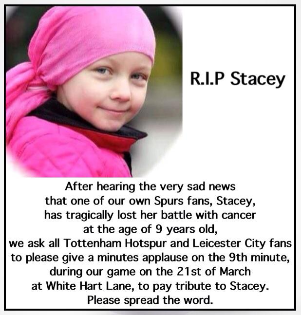 A message to all Tottenham and Leicester City fans.  #RIPStacey