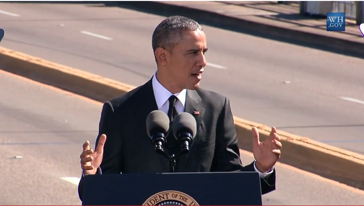 """Obama says #Ferguson not isolated incident. """"We know the march is not yet over"""" Live:http://t.co/n1xVil38dG #Selma50 http://t.co/p7qeb3ZaJe"""