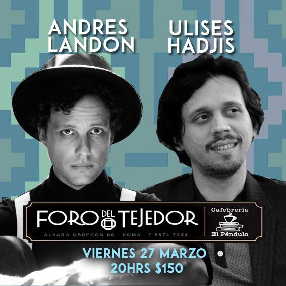 viernes 27 de marzo en @ForodelTejedor junto a @uliseshadjis aquí pueden reservar su lugar http://t.co/1JlzlMUCe0 http://t.co/c0Uw7ovrx4