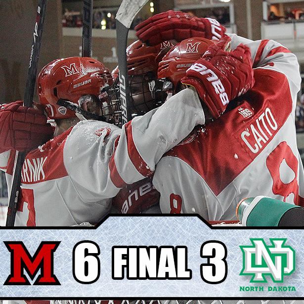 .@MiamiOH_Hockey defeats North Dakota 6-3 on senior night! http://t.co/X44jF6cJs4