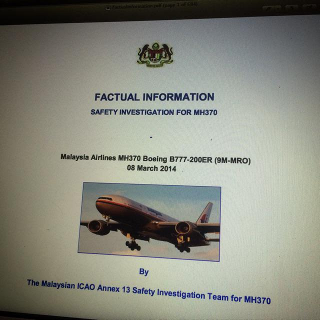 #MH370 Interim Report is officially released and can be accessed online at http://t.co/fi8QQO621s It's 584pg thick. http://t.co/xNJrERDTS8