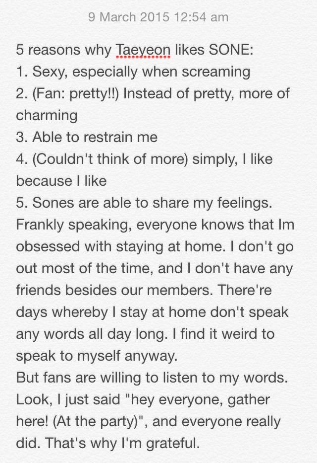 5 reasons why Taeyeon likes SONE. Am so touched by the last reason. http://t.co/TnkvEwoQLC