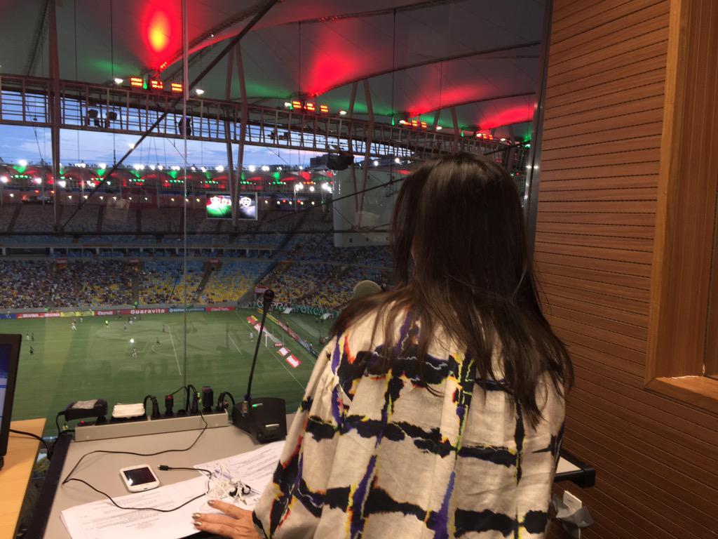 Nem acredito!!! Primeira locutora Mulher na história do Maracanã!!! To nervosona!!! Kkkkkk http://t.co/n791VGBPsm