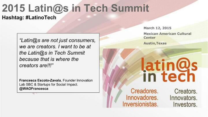 I asked the Latin@s in Tech Summit Speakers why they're participating. Here's @WAOFrancesca's response. #LatinoTech http://t.co/E6tvnO3We1